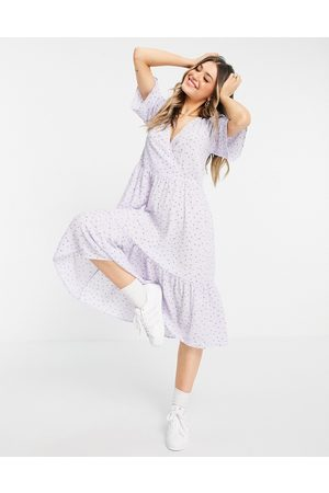Monki Sandy recycled midi wrap dress in lilac floral print