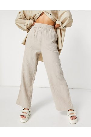 ASOS Cheesecloth pull on sweatpants in stone - part of a set-Neutral