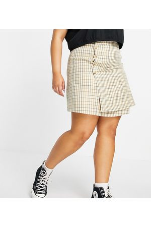 Fashion Union Mini a-line skirt with buttons in vintage check set-Multi