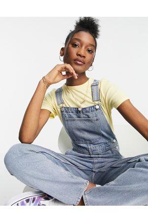 Monki Ciara organic cotton overalls in bleach wash-Blues