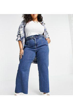 Simply Be Wide leg jean in mid blue-Blues