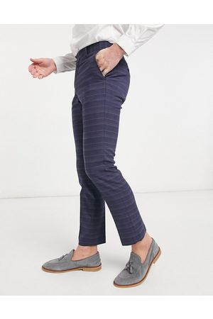 French Connection Slim fit marine check suit pants-Navy