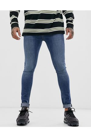 Topman Spray on jeans in mid wash-Blues