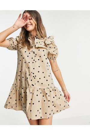 Influence Frill bib shirt dress in tan polka dot