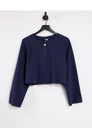 & OTHER STORIES & organic cotton long sleeve lounge top in navy - part of a set