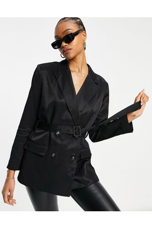 French Connection Carena set suit jacket with tie waist in