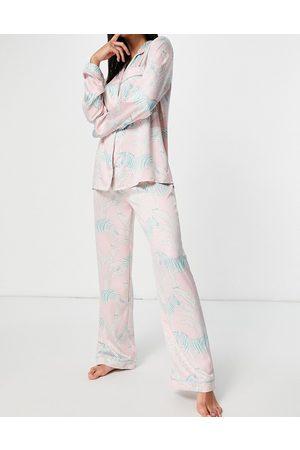 Chelsea Peers Premium satin Zebra printed long revere pajama set in pastel