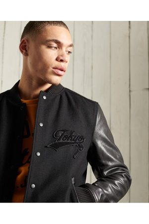 Superdry Men Leather Jackets - Blackout Leather Mix Bomber Jacket