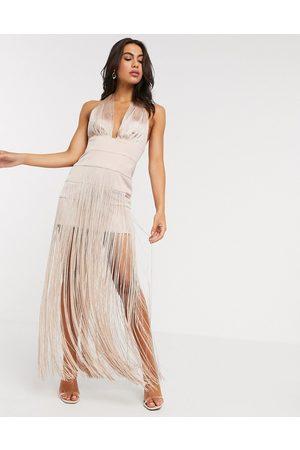 ASOS Women Halterneck Dresses - Halter fringe maxi dress
