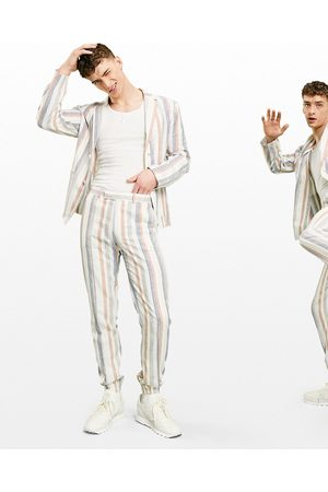 ASOS Soft tailored linen slim suit pants multi stripe in and blue