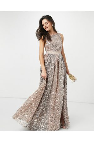 Maya Women Maxi Dresses - Allover contrast tonal delicate sequin dress with satin waist in taupe blush