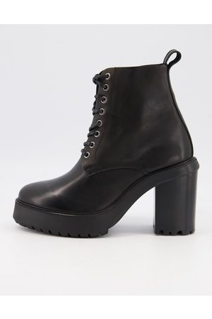 ASOS Heeled lace up boots in leather on platform sole