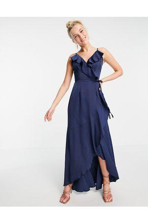 Little Mistress Ruffle wrap midaxi satin dress in navy