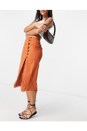 ASOS Midi skirt with raw edge and button detail in rust