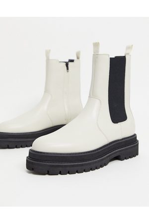 ASOS Chelsea calf boots in off faux leather