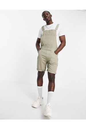 ASOS Short denim overalls in washed khaki