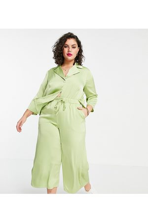 Fashion Union Relaxed retro matching shirt in lime satin