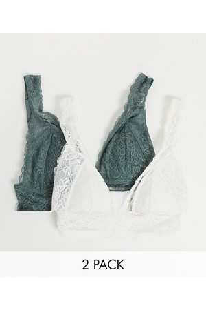 Dorina Lana lace lightly padded longline bralette 2 pack in ivory and dark sage-Multi
