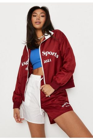 Missguided Women Sports Shorts - Burgundy Co Ord Colorblock Msgd Sports Runner Shorts
