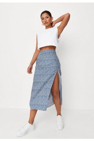 Missguided Floral Print Side Split Midi Skirt