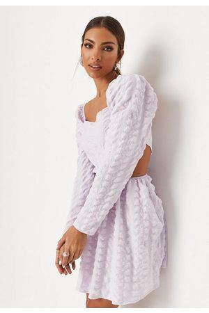 Missguided Lilac Crinkle Square Neck Cut Out Mini Dress