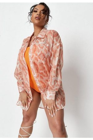 Missguided Plus Size Leopard Print Beach Cover Up Shirt
