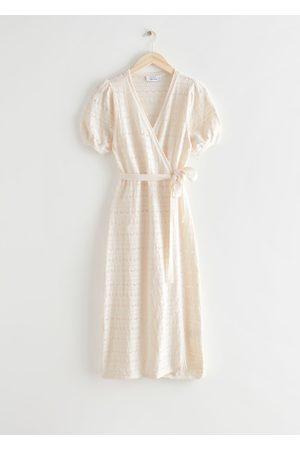 & OTHER STORIES Women Knitted Dresses - Pointelle Knit Midi Wrap Dress
