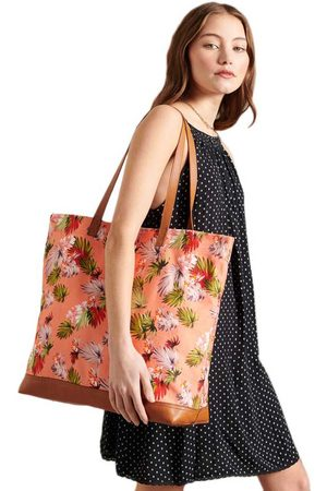 Superdry Large Printed Tote One Size Brushed Pink Palm
