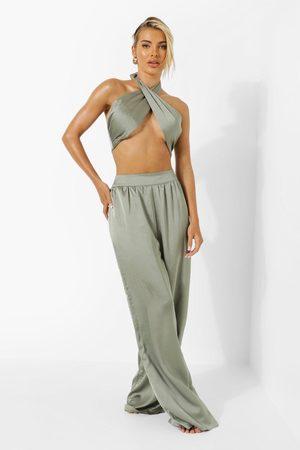 Boohoo Womens Satin Wide Leg Resort Pants - - 2