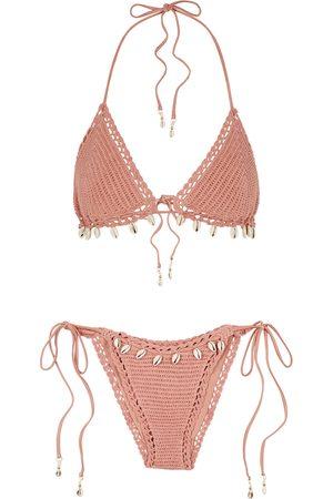 ZIMMERMANN Women Bikinis - Cassia rose shell-embellished crochet-knit bikini