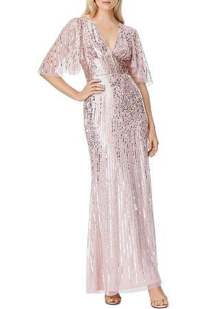 Aidan Mattox Women Evening dresses - V-Neck Flutter Sleeve Sequin Gown