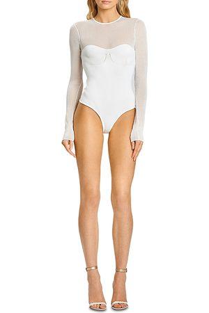 Hervé Léger Women Bodies - X Julia Restoin Roitfeld Mesh Panel Long Sleeve Bodysuit