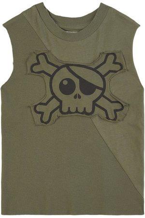 Nununu Skull Sleeveless Shirt Olive - Unisex - 8-9 Years - - Tanks and vests