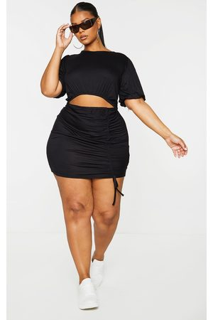 PRETTYLITTLETHING Women Party Dresses - Plus Puff Sleeve Cut Out Ruched Detail Mini Dress