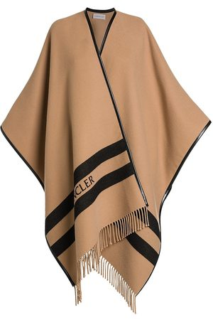 Moncler Women's Striped Wool Logo Cape - Camel