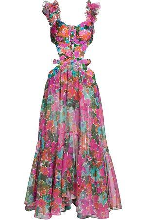 PATBO Women's Floral Chiffon Cutout Beach Maxi Dress - Magenta - Size Medium