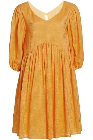 MERLETTE Women's Miller Textured Puff-Sleeve Dress - Tangerine - Size Large