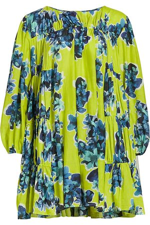 MERLETTE Women's Siddal Floral-Print Corded Tiered Dress - Chartreuse Floral Print - Size Small