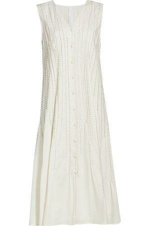 MERLETTE Women's Eaton Stitch-Detail Button-Front Dress - Ivory - Size Small
