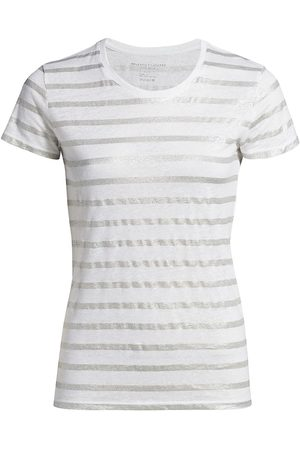 Majestic Women's Fitted Metallic Stripe T-Shirt - Blanc Metal - Size XS