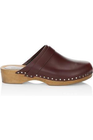 Isabel Marant Women's Thalie Studded Leather Clogs - Burgundy - Size 6