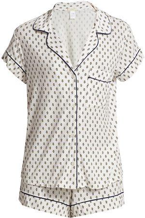 Eberjey Women's Printed Short Pajama Set - Summer Batik Navy - Size XS