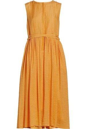 MERLETTE Women's Maya Belted Textured Sleeveless Dress - Tangerine - Size XS