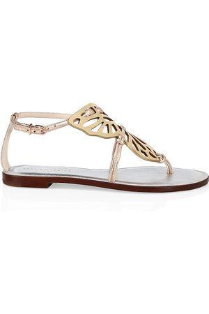 SOPHIA WEBSTER Women's Butterfly Metallic Leather Flat Thong Sandals - - Size 10.5
