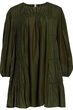MERLETTE Women's Siddal Corded Tiered Dress - Olive - Size Medium