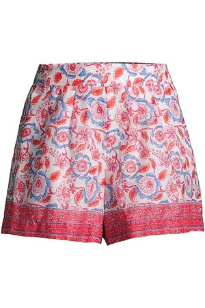 Vineyard Vines Women's Frangipani Floral Pull-On Shorts - Papaya Punch - Size Large