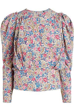 Isabel Marant Women's Zarga Puff-Sleeve Floral Blouse - Size 0