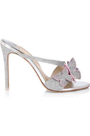SOPHIA WEBSTER Women's Riva Glitter Butterfly Stiletto Mules - - Size 11