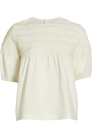MERLETTE Women's Orestes Smocked Short-Sleeve Blouse - Ivory - Size Large