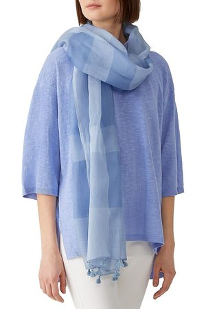Eileen Fisher Women's Sheer Grid Scarf - Light Coastal